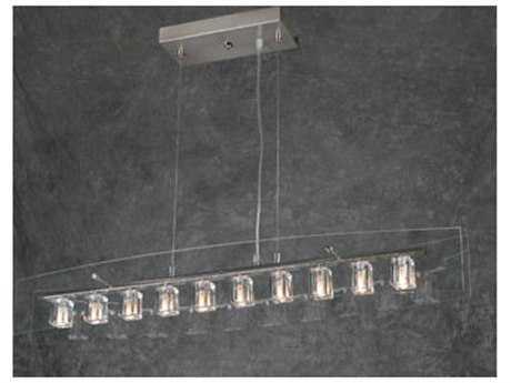 PLC Lighting Ice Cube Satin Nickel 36'' Wide Ten-Light Island Light