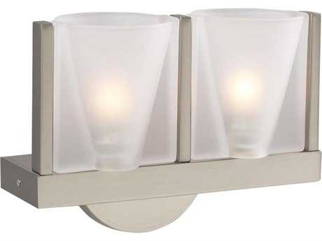 PLC Lighting Bilbao Satin Nickel Two-Light Wall Sconce (Sold in 2)
