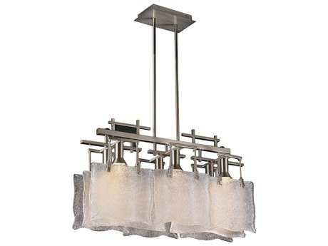 PLC Lighting Carilon Satin Nickel 27'' Wide Six-Light Island Light