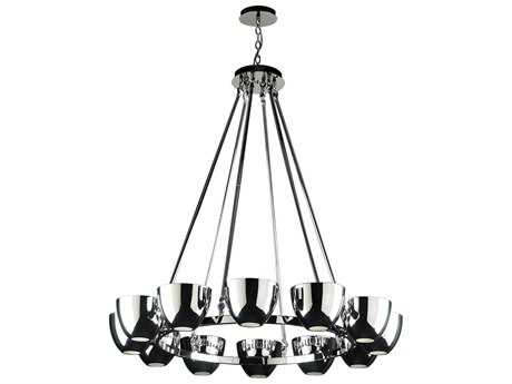 PLC Lighting Precidio Polished Chrome 36'' Wide 12-Light Halogen Chandelier