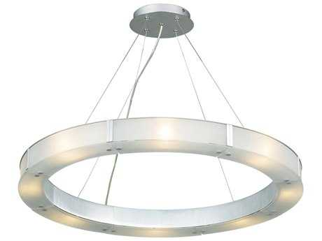 PLC Lighting Silar Aluminum 28'' Wide Eight-Light Halogen Pendant
