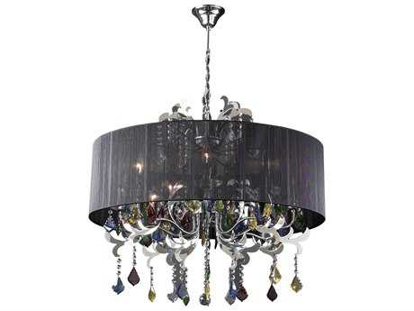 PLC Lighting Torcello Polished Chrome 32'' Wide Eight-Light Incandescent Chandelier