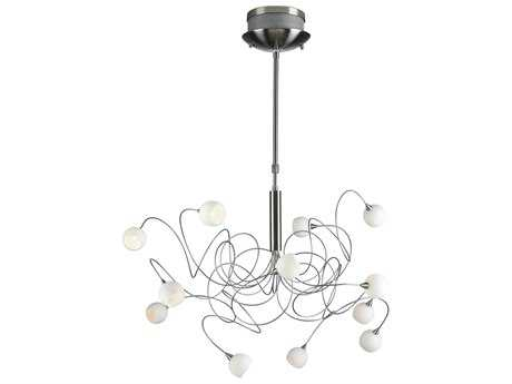PLC Lighting Fusion Satin Nickel 34'' Wide 12-Light Chandelier