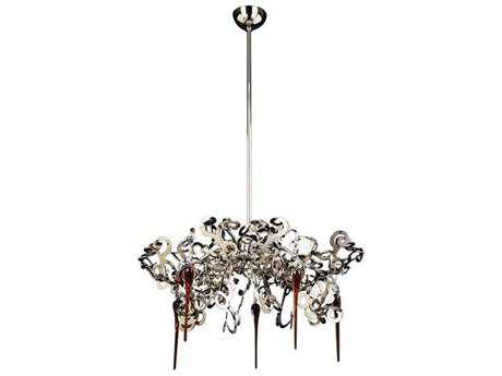 PLC Lighting Exos Polished Chrome 28'' Wide Five-Light Chandelier