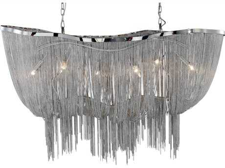 PLC Lighting Formae Satin Nickel 47'' Wide Six-Light Grand Chandelier