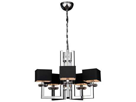 PLC Lighting Icon Polished Chrome 28'' Wide Five-Light Chandelier