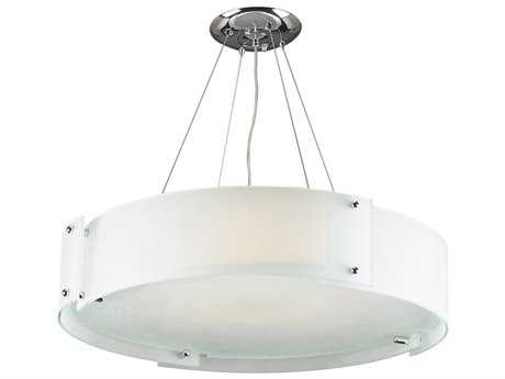 PLC Lighting Logan Polished Chrome 28'' Wide Six-Light Fluorescent-GU24 Pendant