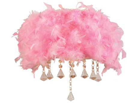PLC Lighting Peacock Polished Chrome & Pink Ostrich Feather Two-Light Incandescent Wall Sconce (Sold in 2)