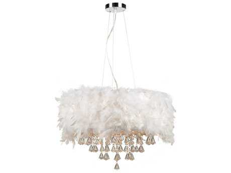 PLC Lighting Peacock Polished Chrome with White Ostrich Feather 22'' Wide Five-Light Incandescent Pendant