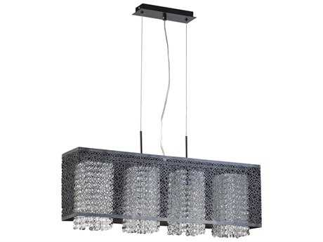 PLC Lighting Virginia Black 32'' Wide Four-Light Incandescent Island Light