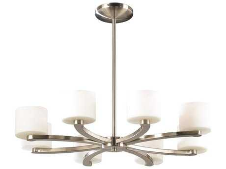 PLC Lighting De Lion Satin Nickel 26'' Wide Eight-Light Chandelier