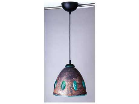 PLC Lighting Fantasia-I Copper with Green Glass 9.5'' Wide Mini-Pendant Light