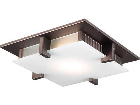 PLC Lighting Polipo Oil Rubbed Bronze 12'' Wide Two-Light Fluorescent-PL13 Flush Mount Light