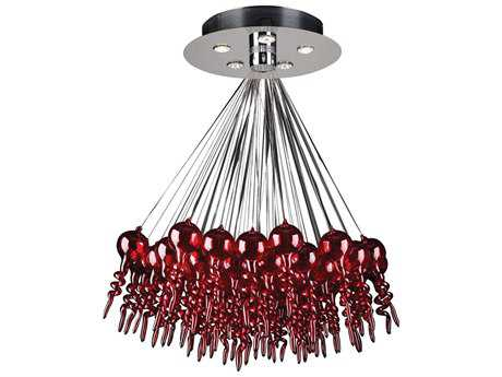 PLC Lighting Dolce Polished Chrome & Red Glass 28'' Wide Five-Light Chandelier