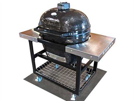 Primo Oval (400) XL Ceramic Smoker Grill On Stainless Steel Cart With Side Tables PatioLiving