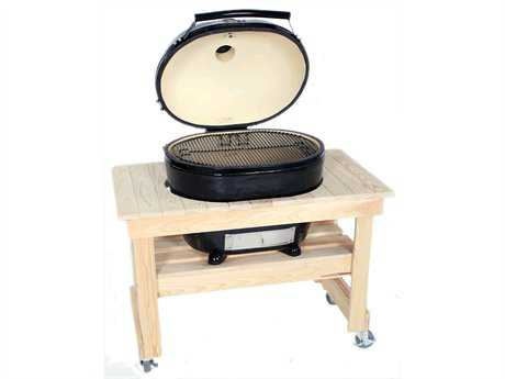 Primo Oval (400) XL Ceramic Smoker Grill in Compact Cypress Table PatioLiving