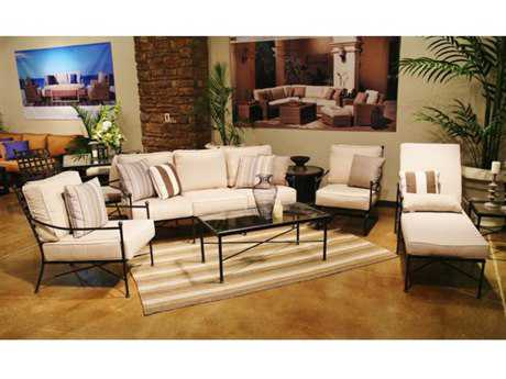Sunset West Quick Ship Provence Wrought Iron Lounge Set in Canvas Flax with Self Welt