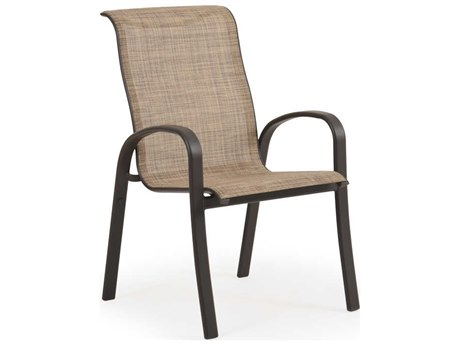 Palm Springs Rattan Sandoval Aluminum Sling Swivel Rocker Dining Arm Chair