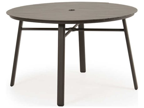 Palm Springs Rattan Sandoval Aluminum 48''Wide Round Slat Top with Umbrella Hole