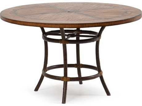 Palm Springs Rattan 2400 Series Aluminum Wicker Dark Honey 48'' Wide Round Dining Table
