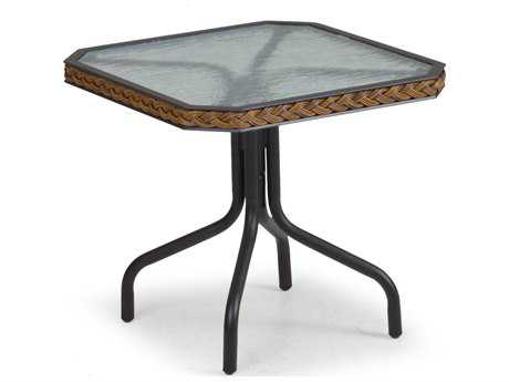 Palm Springs Rattan Aluminum 3200 Series 19 x 17.5 Square Black Tea Table PatioLiving