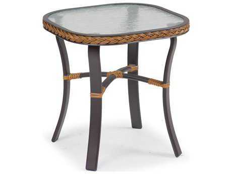 Palm Springs Rattan Aluminum 3200 Series 20 x 19 Square Black End Table w/ Glass Top