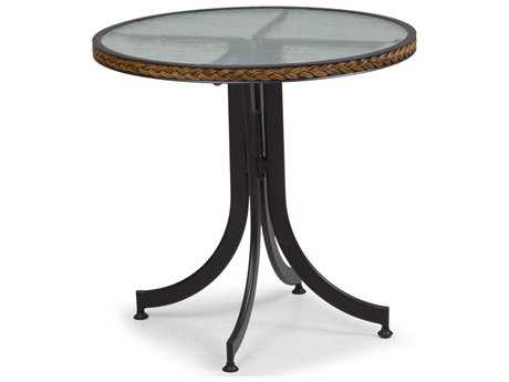 Palm Springs Rattan Aluminum 3200 Series 28 Round Black Bistro Table w/ Glass Top