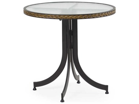 Palm Springs Rattan Cape Town Aluminum 28''Wide Round Black Bistro Table with Glass Top