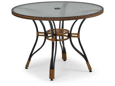 Palm Springs Rattan Aluminum 3200 Series 40 Round Black Dining Table w/ Glass Top