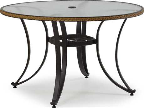Palm Springs Rattan Aluminum 3200 Series 48 Round Black Dining Table w/ Glass Top