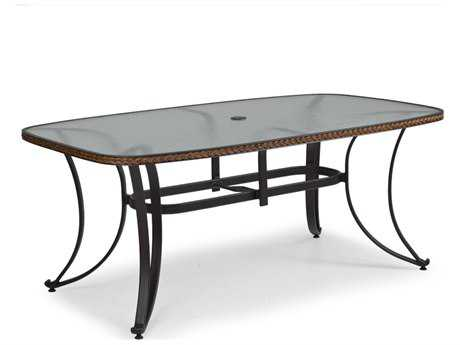 Palm Springs Rattan Aluminum 3200 Series 73 x 42 Rectangular Black Boat Shape Dining Table w/ Glass Top