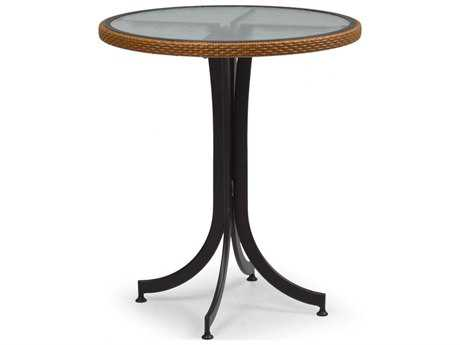 Palm Springs Rattan Aluminum 3200 Series 30 Round Black Counter Height Table w/ Glass Top PS3298C