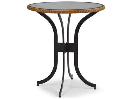 Palm Springs Rattan Aluminum 3200 Series 36 Round Black Bar Height Table w/ Glass Top