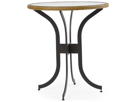 Palm Springs Rattan Cape Town Aluminum 36''Wide Round Black Bar Height Table with Glass Top
