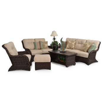 Palm Springs Rattan 4300 Series Conversation Cushion Patio Wicker Lounge Set