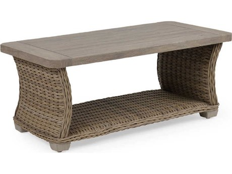 Palm Springs Rattan 4300 Series 19.5 x 46.25 Rectangular Sequoia Cocktail Table