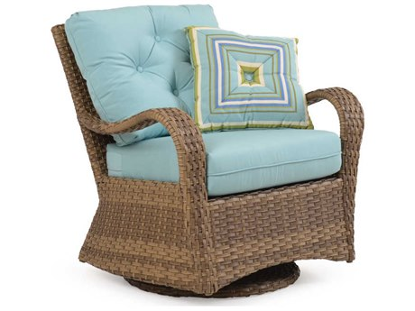 Palm Springs Rattan Alexandria Wicker Swivel Glider Lounge Chair PatioLiving