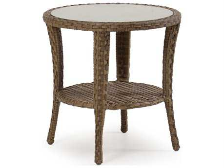 Palm Springs Rattan 6000 Series 24.5 x 24 Round  End Table w/ Glass Top
