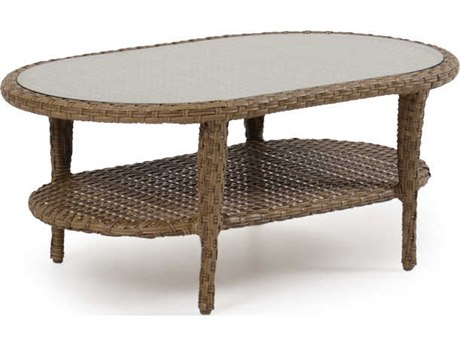 Palm Springs Rattan 6000 Series 17.5 x 42 Oval  End Table w/ Glass Top PatioLiving