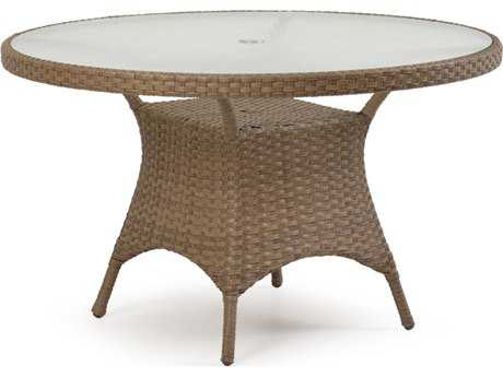 Palm Springs Rattan 6000 Series 48 Round  Dining Table w/ Glass Top & umbrella hole