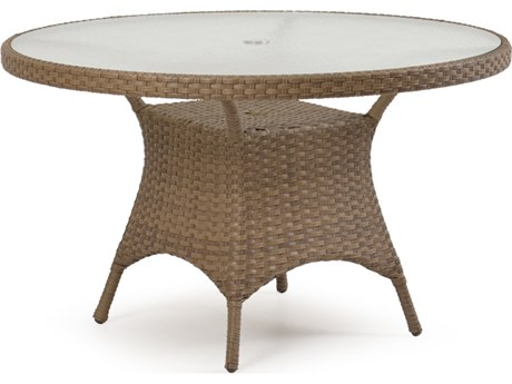 Palm Springs Rattan 6000 Series 48 Round  Dining Table w/ Glass Top & umbrella hole PatioLiving