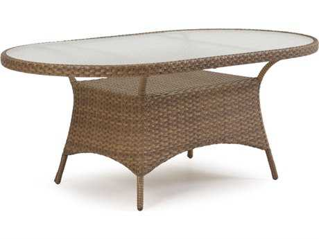 Palm Springs Rattan 6000 Series 40 x 70 Oval  Dining Table w/ Glass Top & no umbrella hole