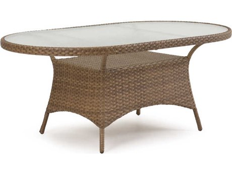 Palm Springs Rattan 6000 Series 40 x 70 Oval  Dining Table w/ Glass Top & no umbrella hole PS6072G