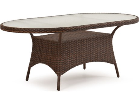Palm Springs Rattan 6000 Series 40 x 70 Oval  Dining Table w/ Glass Top & umbrella hole