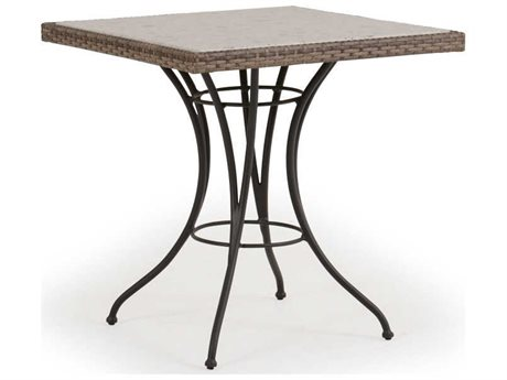 Palm Springs Rattan Augusta Wicker 28''Wide Square Stone Top Bistro Table