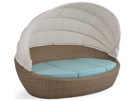 Palm Springs Rattan 6300 Series Wicker Cushion Outdoor Wicker Day Chaise With Canopy