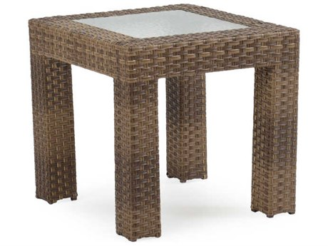 Palm Springs Rattan 6300 Series 24 Square End Table w/ Glass Top