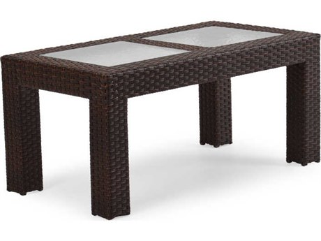 Palm Springs Rattan 6300 Series 20 x 23 Rectangular  Cocktail Table w/ Glass Top