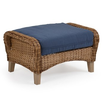 Palm Springs Rattan 6500 Series Wicker Ottoman with Cushion