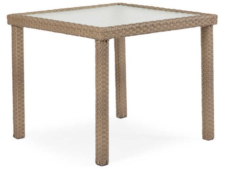 Palm Springs Rattan 6600 Series Wicker 34 Square Dining Table with Glass Top
